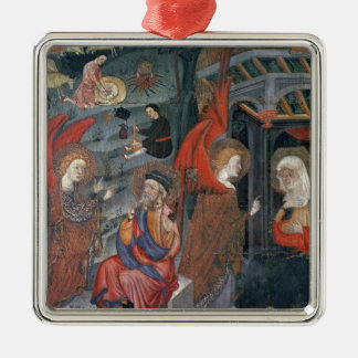 The Annunciation with Shepherds Making Cheese in t Silver-Colored Square Ornament
