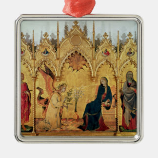 The Annunciation with St. Margaret and St. Silver-Colored Square Ornament