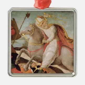 The Apparition of St. Ambrose Silver-Colored Square Ornament