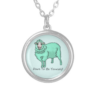 """""""The Aquamarine Sheep"""" Silver Plated Necklace"""