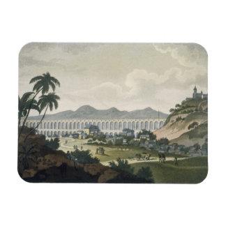The aqueduct in Rio de Janeiro (colour engraving) Vinyl Magnet