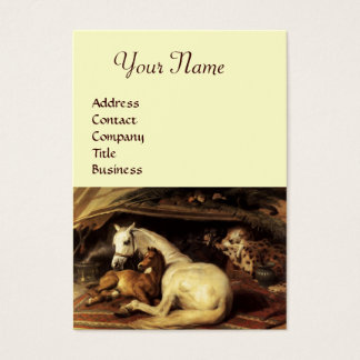 THE ARAB TENT WITH HORSES,OTHER ANIMALS,cream Business Card