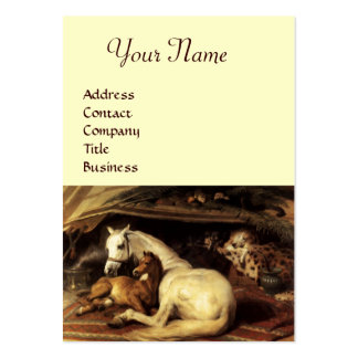 THE ARAB TENT WITH HORSES,OTHER ANIMALS,cream Large Business Card