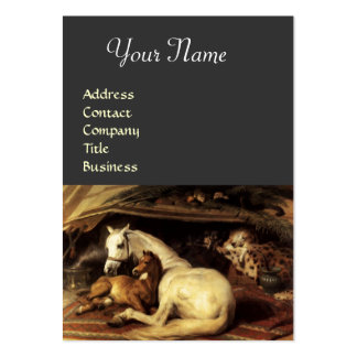 THE ARAB TENT WITH HORSES,OTHER ANIMALS ,grey Large Business Card