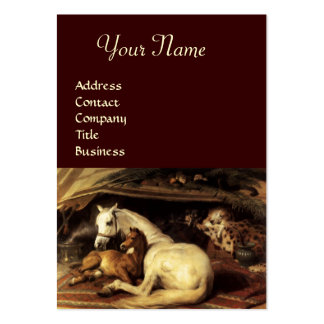THE ARAB TENT WITH HORSES,OTHER ANIMALS LARGE BUSINESS CARD