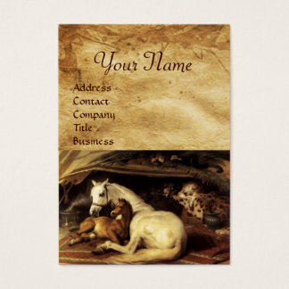 THE ARAB TENT WITH HORSES ,OTHER ANIMALS Parchment Business Card