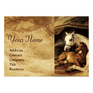 THE ARAB TENT WITH HORSES ,OTHER ANIMALS Parchment Large Business Card