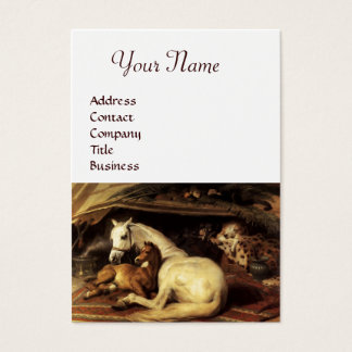 THE ARAB TENT WITH HORSES,OTHER ANIMALS, white Business Card