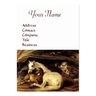 THE ARAB TENT WITH HORSES,OTHER ANIMALS, white Large Business Card