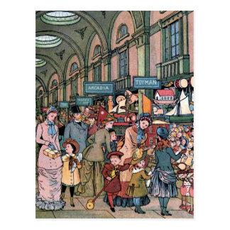 """The Arcade"" Vintage Illustration Postcard"