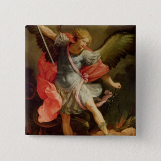 The Archangel Michael defeating Satan 2 Inch Square Button
