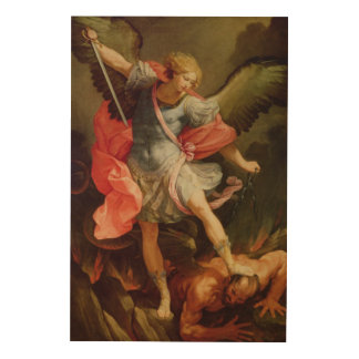 The Archangel Michael defeating Satan Wood Canvases