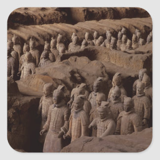 The Army of terra cotta warriors at Emperor Qin Square Sticker