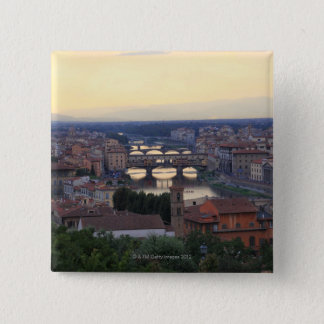 The Arno River and Ponte Vecchio in Florence, 2 Inch Square Button