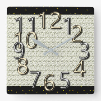 The-Art-of-Time- MoD-Silver & Gold-Clocks Square Wall Clock