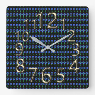 The-Art-of-Time-Sunflower-Mod-Blue-Clock Square Wall Clock