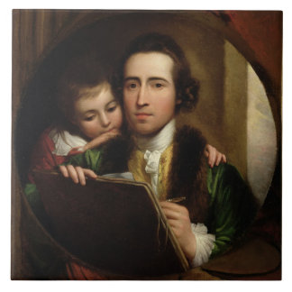 The Artist and his son Raphael, c.1773 (oil on can Tile