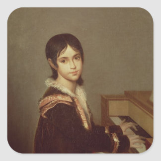 The Artist's Daughter at the Piano Square Sticker