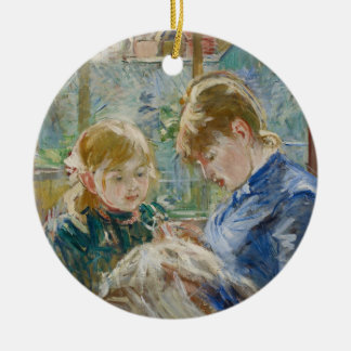 The Artist's Daughter, Julie, with her Nanny Round Ceramic Ornament
