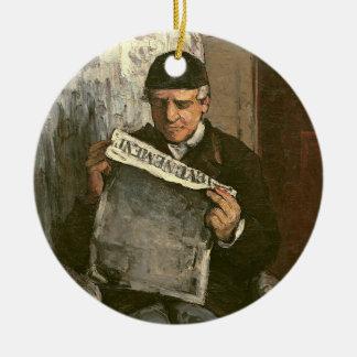 """The Artist's Father, Reading """"L'Événement"""", 1866 Round Ceramic Ornament"""