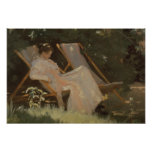 The artist's wife sitting in a garden chair poster