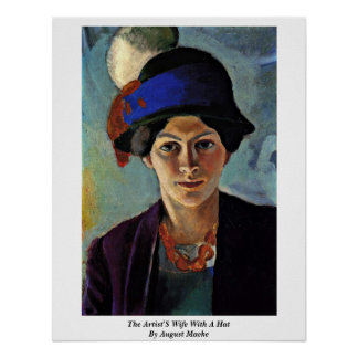 The Artist'S Wife With A Hat By August Macke Poster