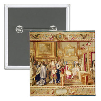 The Audience of Cardinal Chigi with Louis XIV 2 Inch Square Button