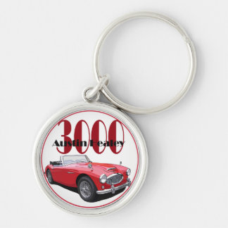 The Austin Healey 3000 Silver-Colored Round Keychain