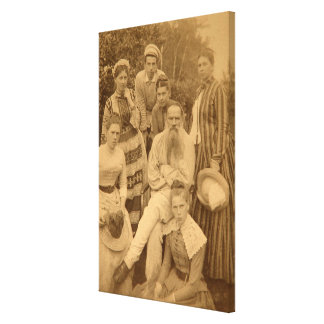 The author Leo Tolstoy with his family Canvas Print