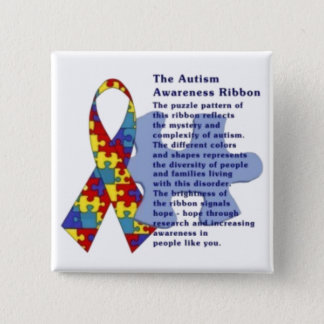 """""""The Autism Awareness Ribbon"""" 2 Inch Square Button"""