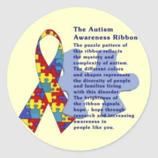 """The Autism Awareness Ribbon"" Classic Round Sticker"