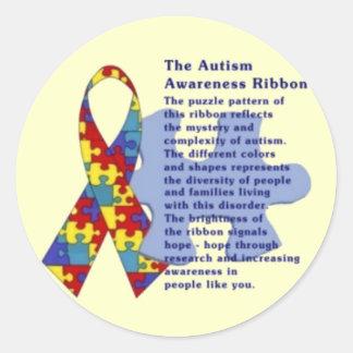 """The Autism Awareness Ribbon"" Round Sticker"