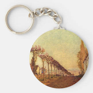 The Avenue', Alfred Sisley'_Impressionists Basic Round Button Keychain