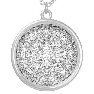 The Aztec Sun Calendar Circular Stone Design Silver Plated Necklace