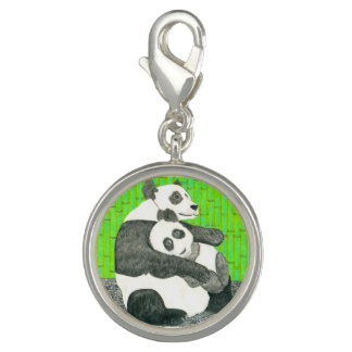 The Baby And Mommy Panda Bears Charm