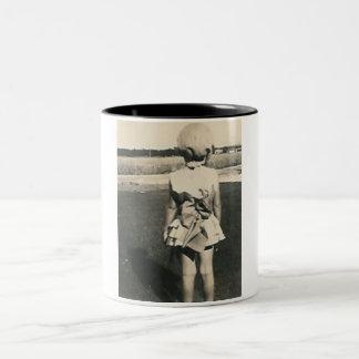 The back of young girl Two-Tone coffee mug