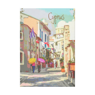 The Back Streets of Cyprus Travel Poster Style Canvas Print