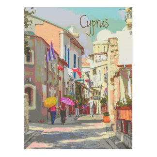 The Back Streets of Cyprus Travel Poster Style Postcard