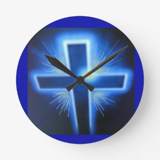 The Backlit Blue Cross Round Clock