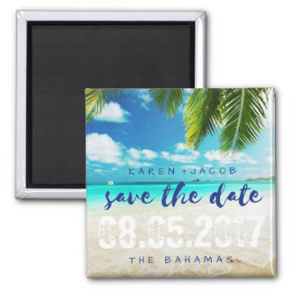 The Bahamas Beach Wedding Save the Dates Square Magnet