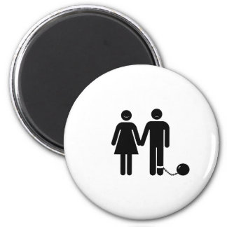 """The """"Ball and Chained"""" groom Refrigerator Magnets"""