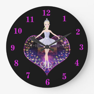 The ballerina butterfly princess large clock