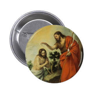 The Baptism of Christ by Bartolome Esteban Murillo 2 Inch Round Button