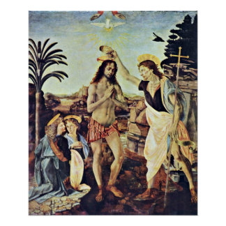 The Baptism of Christ by Leonardo da Vinci Poster