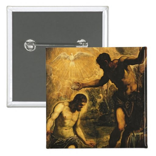 The Baptism of Christ (oil on canvas) Pinback Buttons