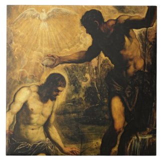 The Baptism of Christ (oil on canvas) Tile