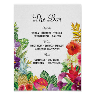 The Bar Aloha Luau Event Sign Wedding Reception Poster