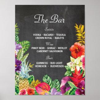 The Bar Aloha Luau Party Sign Wedding Reception Poster