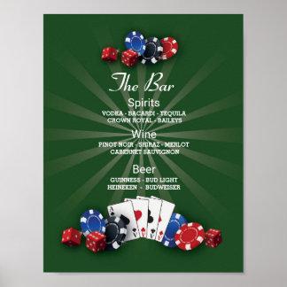 The Bar Event Sign Casino Vegas Reception Poster