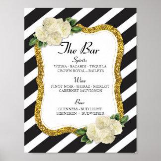 The Bar Event Sign Stripe Gold Wedding Reception